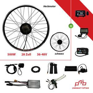 "E-Bike / Pedelec Umbausatz Kit ~ 500 Watt Heck Motor 28"" Schwarz ~ KT3 Display"