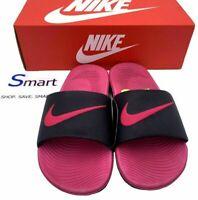 NEW SIZES 12c-5Y YOUTH Nike Kawa Slides GS Logo Kids Boys Girl BLACK VIVID PINK