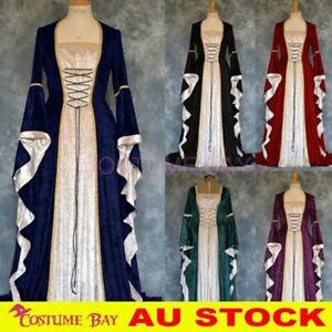Medieval Gothic Renaissance Gown Velvet Witch Wench Victorian Dress Costume AU