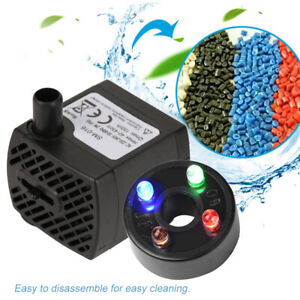 Water Fountain Pump With 4LED Light Super Silent Small Submersible Water Pump UK