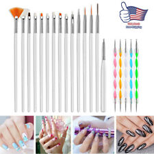 20PCS Gel Nail Art Design Set Dotting Painting Drawing Polish Brushes Pen Tools