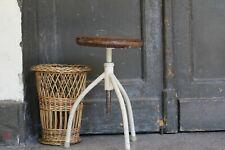 Original Vintage Industrial Metal Stool Wood Seat White Dental Adjustable Stool