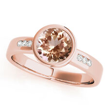 1.09 Carats Petite Bezel Morganite Gem Stone & Diamond Engagement Ring Rose Gold