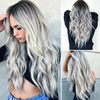 Women Gradient Grey Long Curly Wig Synthetic Wavy Hair Heat Resistant Wig new