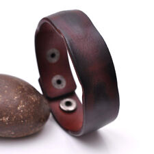 Handmade Distressed Genuine Leather Bracelet Cuff Wristband Brown Mens Unisex