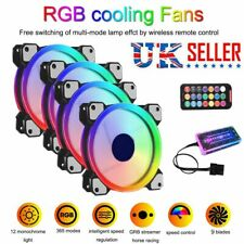 4PCS RGB LED Quiet Computer Case PC Cooling Fan 120mm with 1 Remote Control NEW