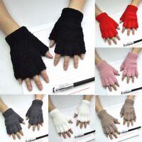 Women Gloves Mitten Fingerless Knitted Crochet Half-Fingers Adult Warm Winter 83