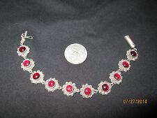 Unique Vintage Garnet Cabochon Sterling .925 Silver Flower Bracelet Safety Clasp