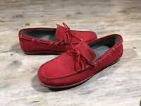 Geox Red Mirvin Suede Moccasins Driving Shoes Loafers Mens Size EUR 46 US 12 NEW