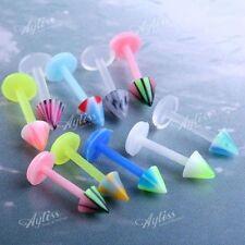 Mixed 10pc Acrylic Taper Rivet Top 16G Larbret Bar Barbell Lip Ring Piercing