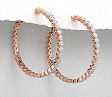 Rose Gold Over 8.9g Solid Sterling Silver CZ Endless Hoop Earrings Vermeil BIG