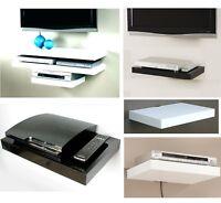 Floating Media Shelves Shelf For DVD SKY BOX TV AV Xbox Wall Mounted Kit Gloss