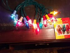 12 × VINTAGE CHRISTMAS FAIRY LIGHTS. COLOURED BAKELITE & LACQUERED BULBS. WORK.