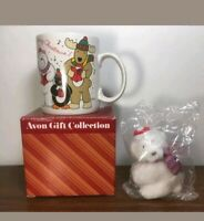 AVON GIFT COLLECTION CHEER MUG WITH POLAR BEAR plush Christmas Tree Ornament