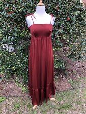 Vintage 70's Boho, Prom, Rust Maxi Dress w/ Tie Straps, Shirred Back & Shawl