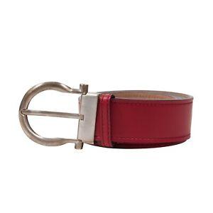 Salvatore Ferragamo Red Single Hook Buckle Adjustable Gancini Belt Size 42