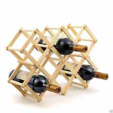 Wood Wooden 10 Bottle Wine Rack Holder Stand  folable Free Standing Bar Kitchen