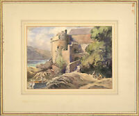Early 20th Century Watercolour - Castle View with Boat and Figures
