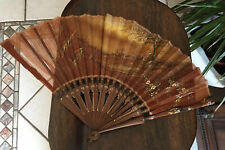 Vtg Hand Held Fan w Hand Painted Sheer Silk Fabric & Wood Slats*As-Is