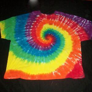 5X Tie Dye T-Shirt Rainbow Spiral 5XL Plus Size Handmade Tye Dyed XXXXXL Hippie