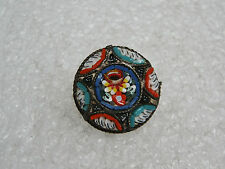 VINTAGE ITALIAN GLASS BEAD MILIFORIE MICRO MOSAIC ROUND FLORAL PIN/BROOCH N464-M