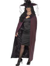 Halloween Ladies Reversible Fancy Dress Cape Black/Purple Cloak New by Smiffys