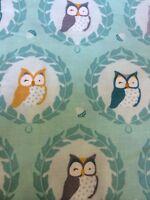 Fat Quarter Sweet Owlies In Aqua Cotton Quilting Fabric - Michael Miller