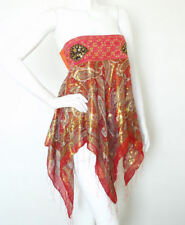 L124 Red Hippie Gypsy Embroidered Lurex Shimmering Blouse Top / Skirt - S & M