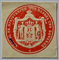 Siegelmarke Vignette Königl. Pr. Ministerium für Handel und Gewerbe (6663)