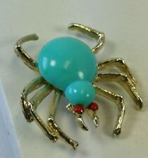 awesome Vintage spider brooch pin turquoise red gold costume jewelry