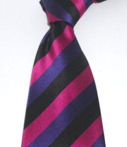 Designer Luxury Hand Woven 100% Pure Silk Tie Purple Pink Black Diagonal Stripes