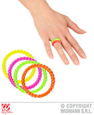 Neon Rings X 4 80S Party Fancy Dress Costume Jewellery 1980S Accessory