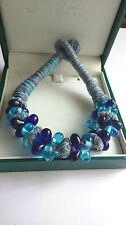 Pretty Hand-crafted Sapphire-Blue & Aquamarine Glass Bead Bangle Bracelet