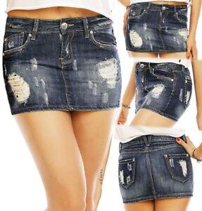 SeXy Miss Damen Hüft Jeans Mini Rock Girly Strass XS 32 S 34 M 36 L 38 XL 40 NEU