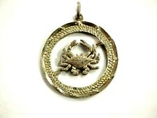 Peso Cut Coin Jewelry Pendant Original Cancer Zodiac Mexican Silver