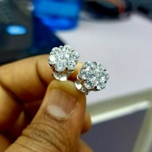Certified 2 Ct Diamond Stud Earrings Real 14K White Gold Excellent Round Shape
