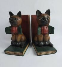 Unbranded Siamese Cat Wooden Bookends (474)
