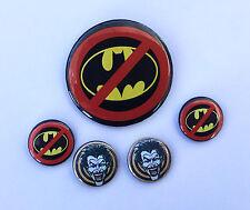 Anti Batman Button Set, No Batman Pin Set
