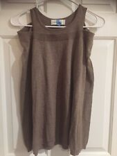 Laurie B Long Sleeve Cold Shoulder Sweater Top Cashmere Blend Wheat Layered S