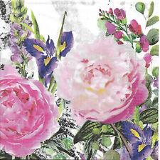 Lot de 4 Serviettes en papier Jardin des roses Decoupage Collage Decopatch