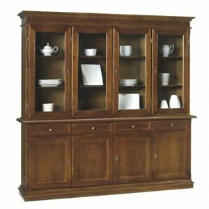 Glass Cabinet 4 Doors, Walnut (379)