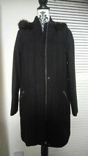 Black Winter Coat Parka Size 14 NWT Furry Hood