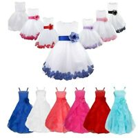 Flower Girl Kids Tutu Dress Princess Formal Party Wedding Bridesmaid Tulle Gown
