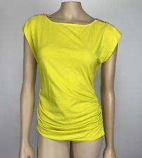 MICHAEL Michael Kors Ruched Top Women's Size Medium Yellow Short Sleeve Zippers