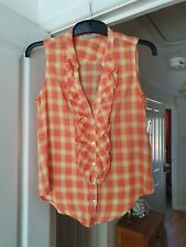 Zara Trf Collection Orange Mix Summer Sleeveless Check Blouse, EUR Size S, NWT