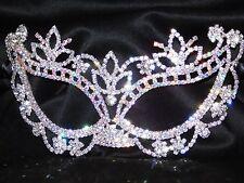 Silver & AB Rhinestone Crystal Masquerade Mask Mardi Gras Party W. Black Ribbon