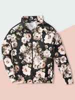 Mens Track Jacket Sweatshirts Full Zip Striped Flower Patterned Casual Fashion