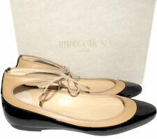 $650 Jimmy Choo Tyler Flats Black Patent Ankle-tie Ballet Shoes Ballerina 41