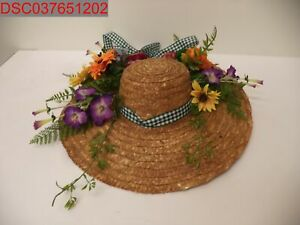 "18"" Mixed Flowers Farmhouse GardenStraw SunHat Wreath WallHanging, 840703122339"