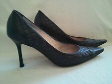 CHANEL BLACK QUILTED LEATHER HIGH HEEL CLASSIC WOMEN'S PUMP SHOES SZ 38/8.